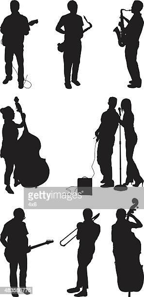 musical performers playing instruments - jazz stock illustrations, clip art, cartoons, & icons