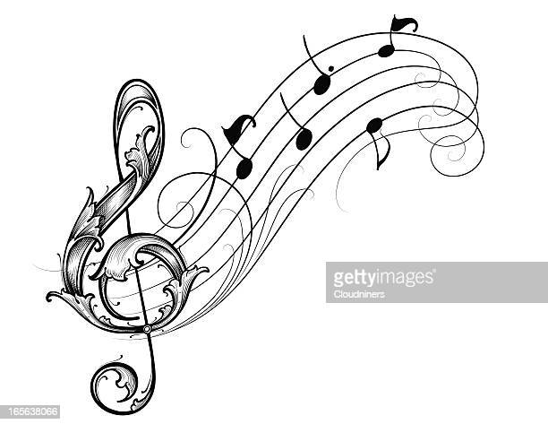 musical scroll - treble clef stock illustrations, clip art, cartoons, & icons
