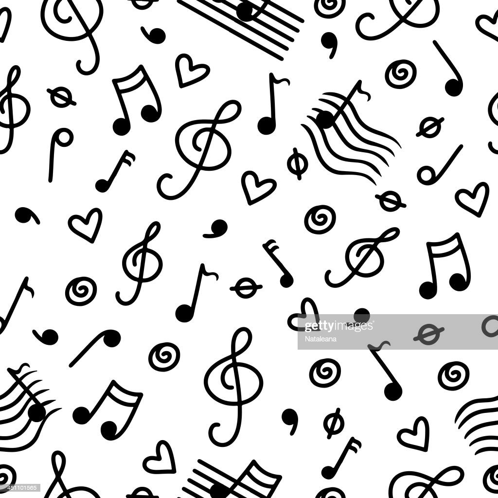 Musical seamless pattern with hearts in black and white