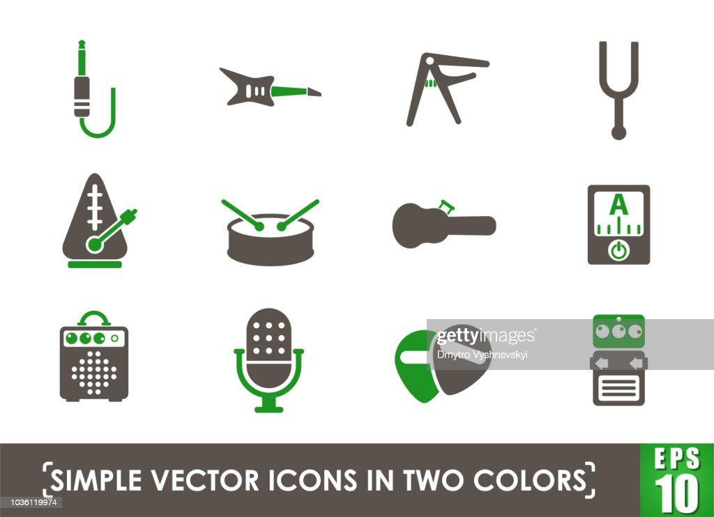 musical shop icon set