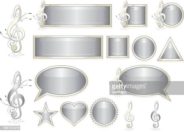 ミュージカルトクレとアイコンセットの光沢のあるメタリックシルバー - ホワイトゴールド点のイラスト素材/クリップアート素材/マンガ素材/アイコン素材