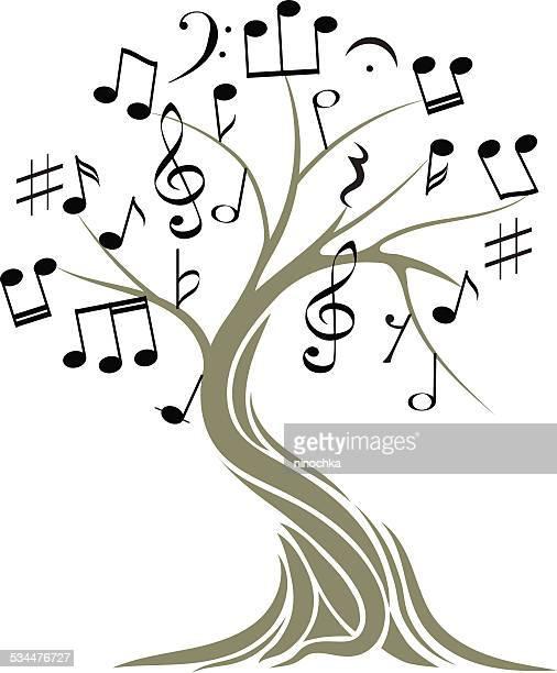 musical tree - treble clef stock illustrations, clip art, cartoons, & icons