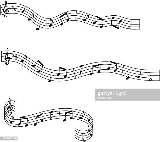musical waves design elements - sheet music stock illustrations, clip art, cartoons, & icons