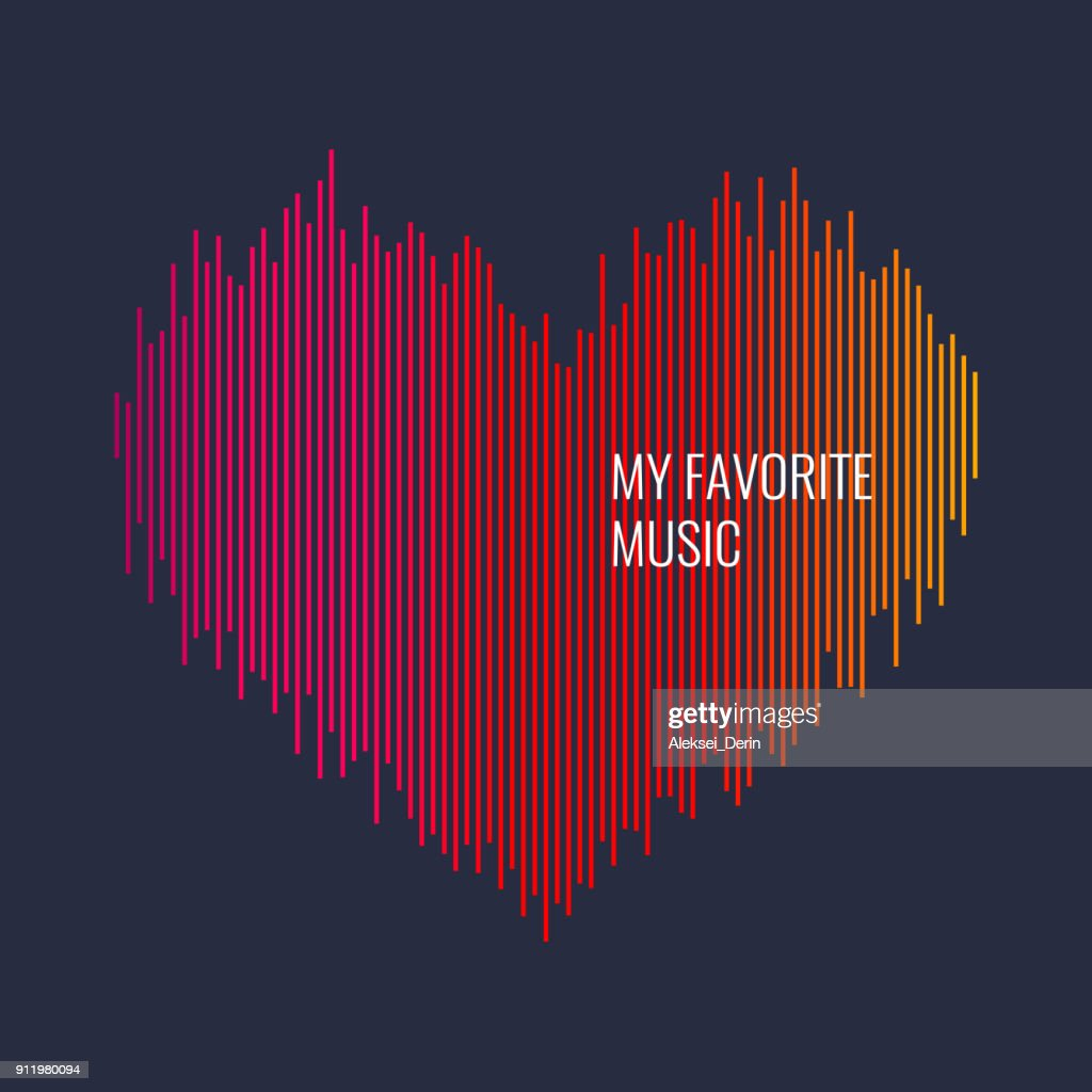 Musical waves in the shape of a heart in the background