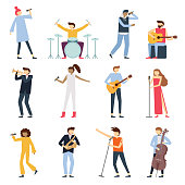 Musician artists. Guitar playing artist, young drummer and pop song singer. Musical instruments stage players isolated flat vector set