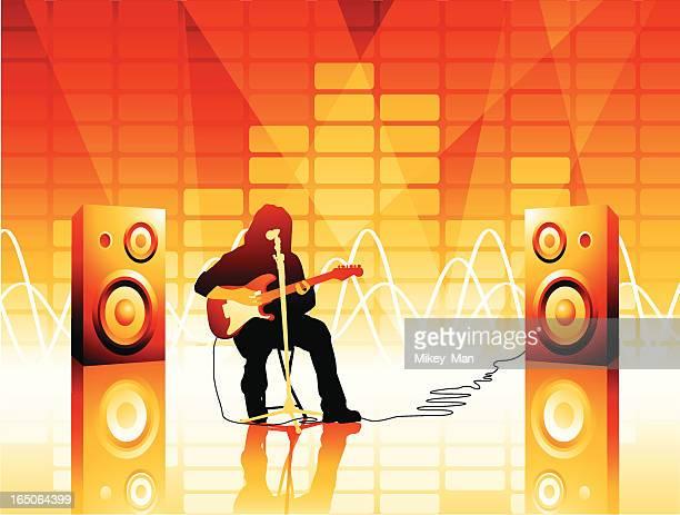 musician:  jamming away... - bass instrument stock illustrations, clip art, cartoons, & icons
