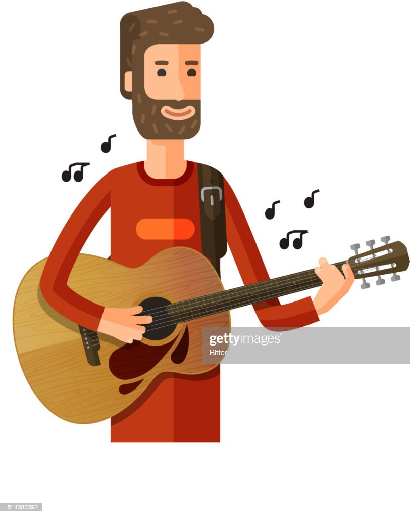 musician or guitarist plays the melody. vector illustration