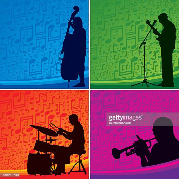 musicians background - jazz stock illustrations, clip art, cartoons, & icons