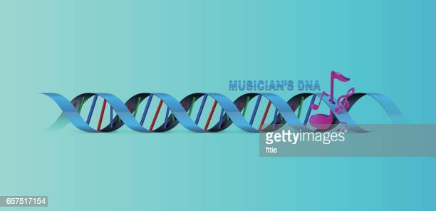 musician's dna background with musical note - collagen stock illustrations