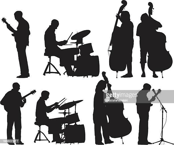 musicians silhouettes set - jazz stock illustrations, clip art, cartoons, & icons