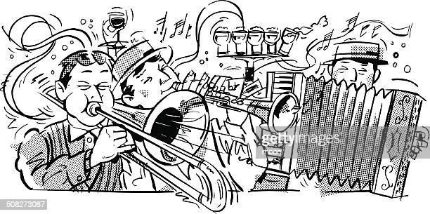 musicians - new orleans stock illustrations, clip art, cartoons, & icons