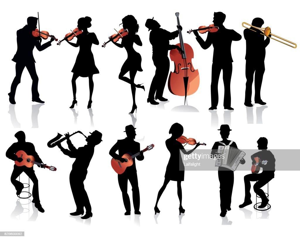 Musicians with a violin, a guitar, a trumpet, an accordion.