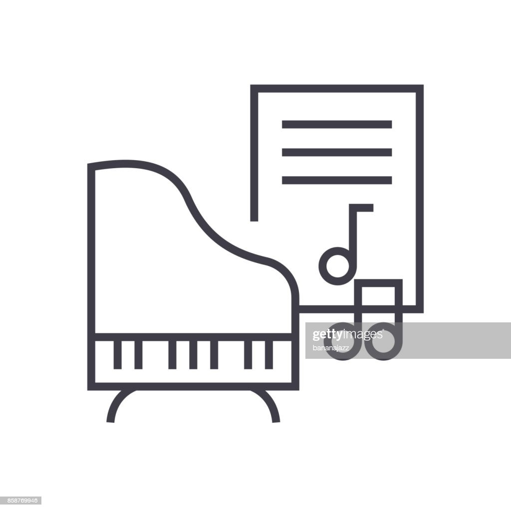 music,piano,music notes vector line icon, sign, illustration on background, editable strokes