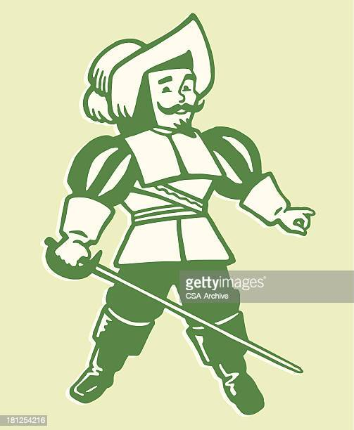 musketeer holding a sword - musketeer stock illustrations, clip art, cartoons, & icons