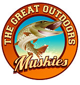 Muskie illustration on circular label with text, the great outdoors