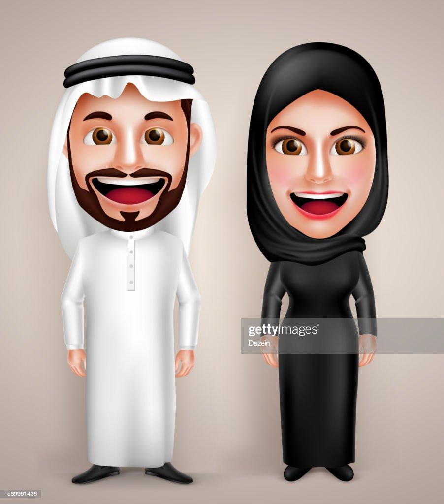 Muslim arab man and woman vector character wearing