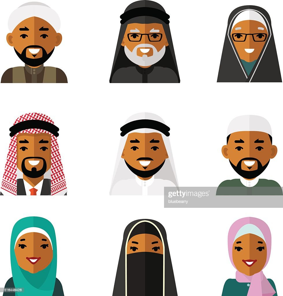 Muslim arab people characters avatars icons set on white background