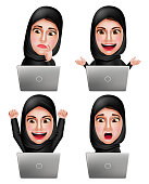 Muslim arab woman vector characters set working with laptop