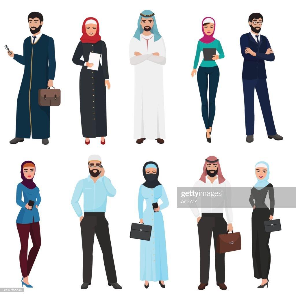 Muslim Arabic Business people. Arab office male and female cartoon vector illustration set.