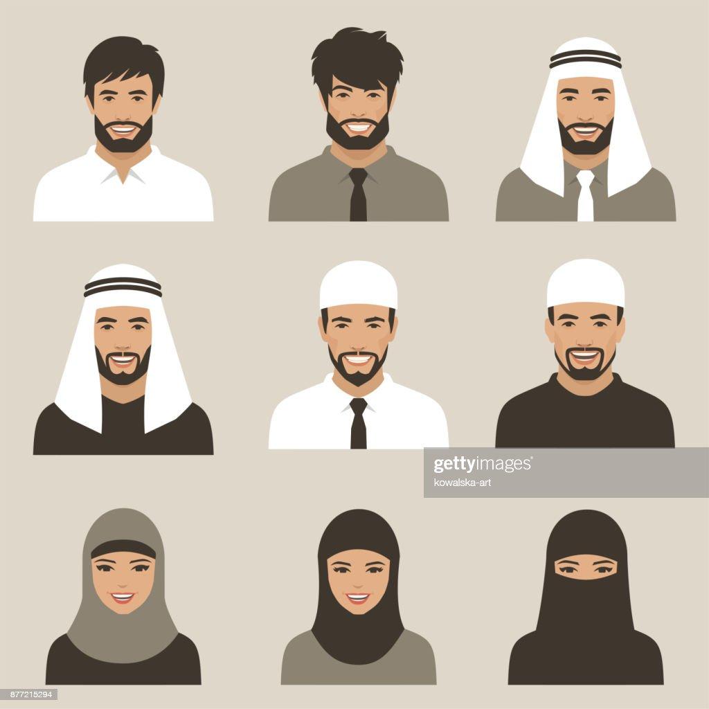muslim avatars, vector arab people