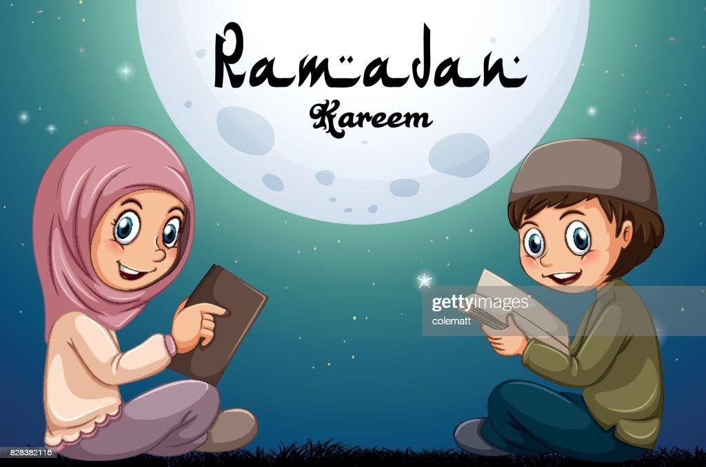 Muslim boy and girl reading books