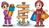 Muslim boy cartoon holding gift box with muslim girl holding shopping bag