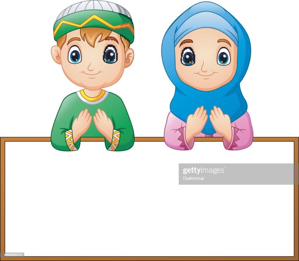 Muslim couple kid praying with blank sign