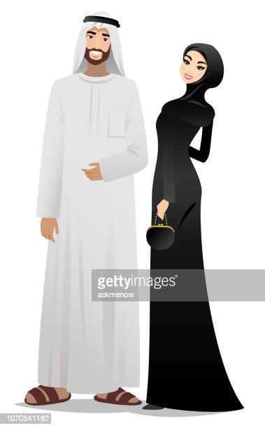 ilustrações, clipart, desenhos animados e ícones de casal muçulmano - qatar