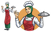 Muslim Female Chef with Hijab_Vector EPS 10