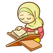 muslim female reading Qur'an