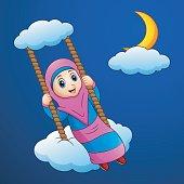 Muslim girl cartoon swing at the cloud in the night