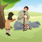 Muslim Girl Giving Food to Homeless Man Illustration