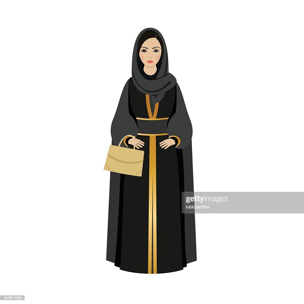 Muslim Girl with traditional hijab. Abaya Fashion muslim girl holding golden bag