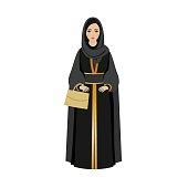 Muslim Girl with traditional hijab. Abaya Fashion muslim girl holding golden bag