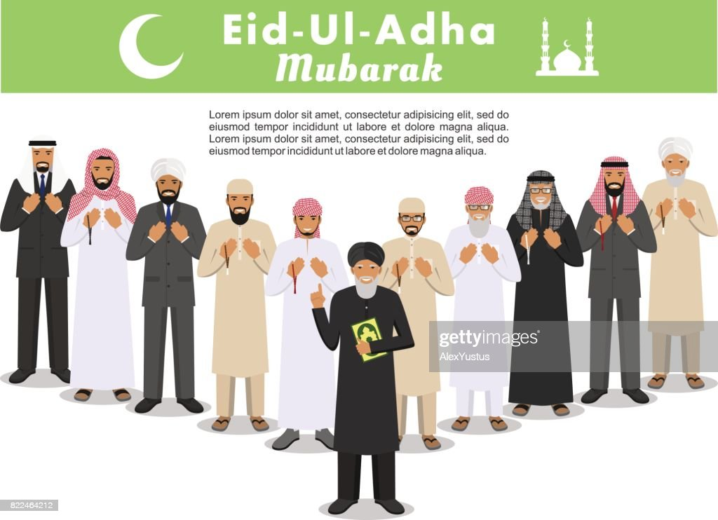 Muslim holiday Eid al-Adha. Feast of the Sacrifice. Prayer time. Different standing praying arabic people and mullah in traditional arabian clothes. Mufti with quran. Islamic men with beads in hands pray. Silhouette of a mosque and minarets.