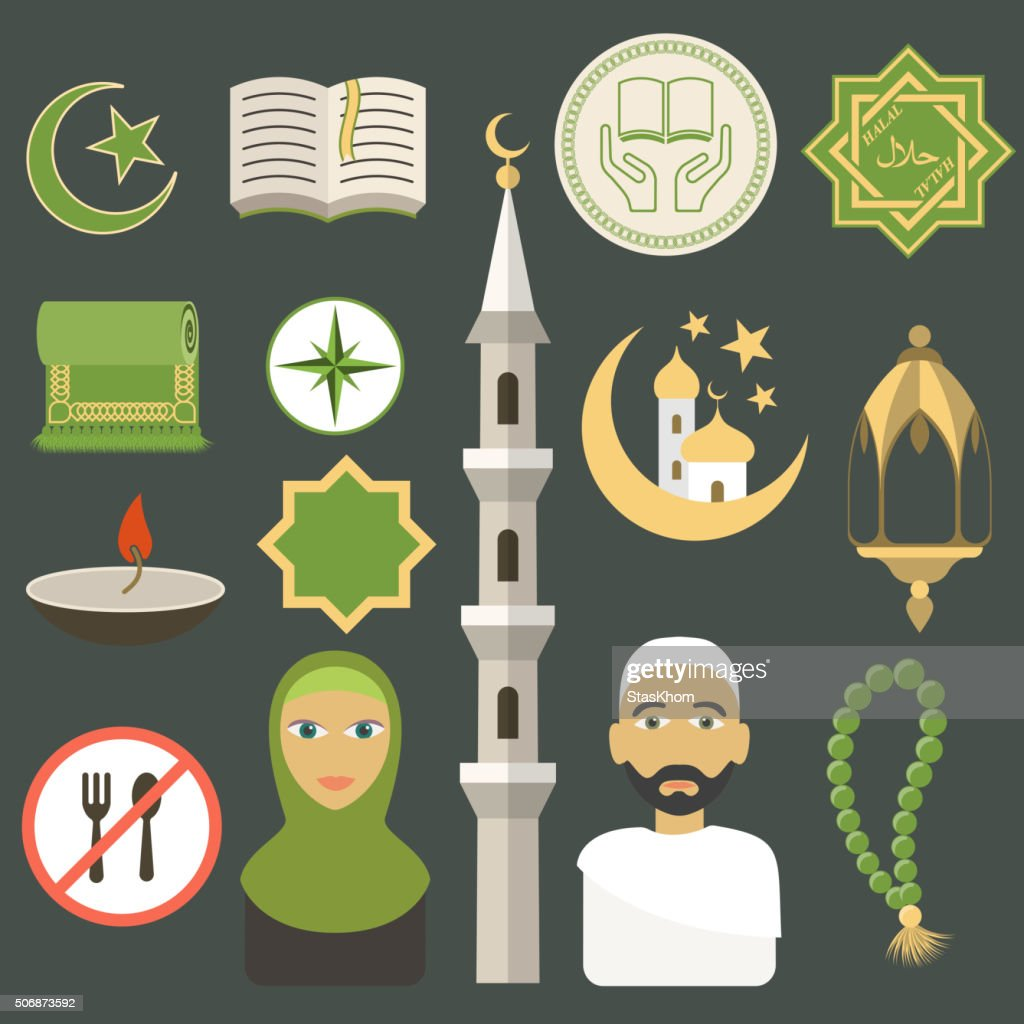 Muslim icons set. Flat style. Vector illustration.
