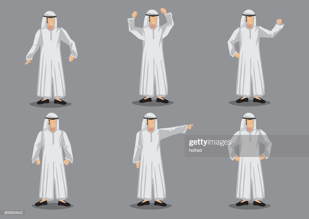 Muslim Man Cartoon Character in White Islamic Costume Vector Illustration