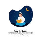 muslim man reading holy quran for ramadan activity with night scene background vector illustration design.