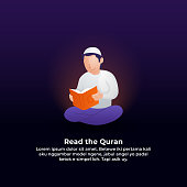 muslim man reading quran modern flat illustration. ramadan activity concept vector illustration design.