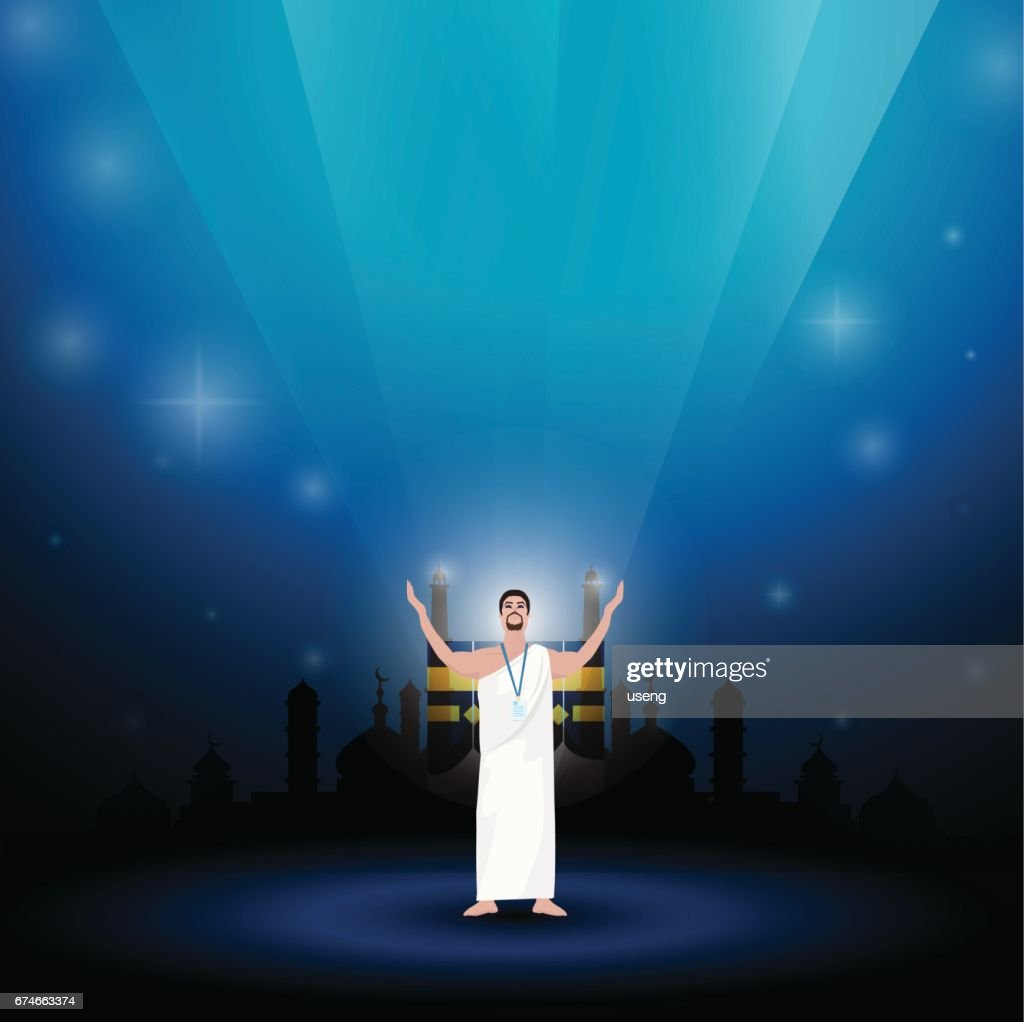 Muslim Man Wearing Ihram Clothes for Performing Hajj or Umrah Pilgrimage on a blue background.