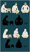 Muslim Men & Women Reading The Holy Quran