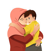 Muslim Mother Hugging Her Son Illustration