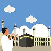 Muslim pilgrims perform Hajj / Umrah (pilgrimage to Mecca) around Kaaba at the Haram Mosque using Ihram (white garment). Cartoon Character. Vector Illustration