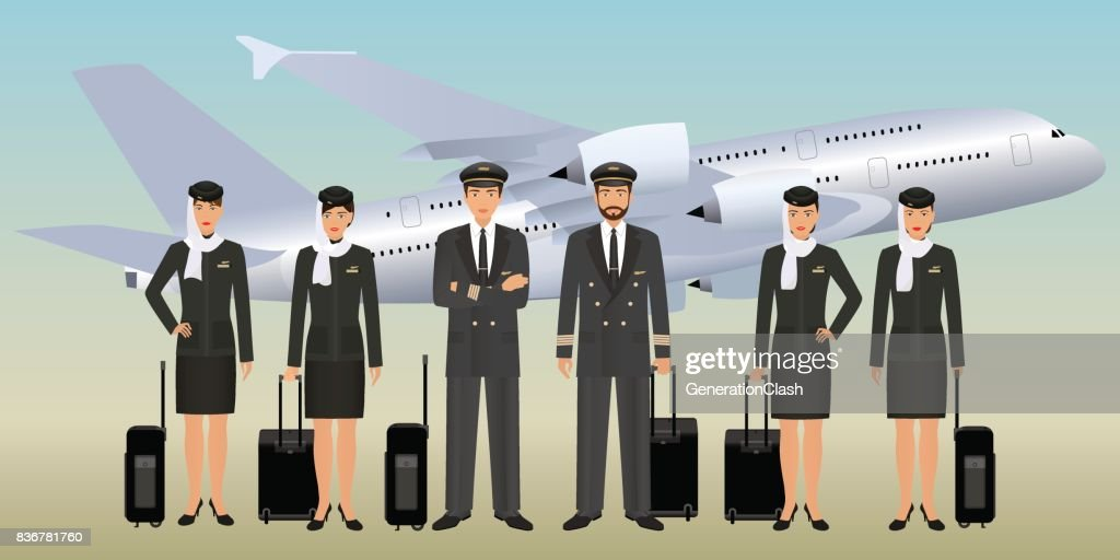 Muslim pilots and stewardesses characters in uniform with bags standing on flying aircraft background.