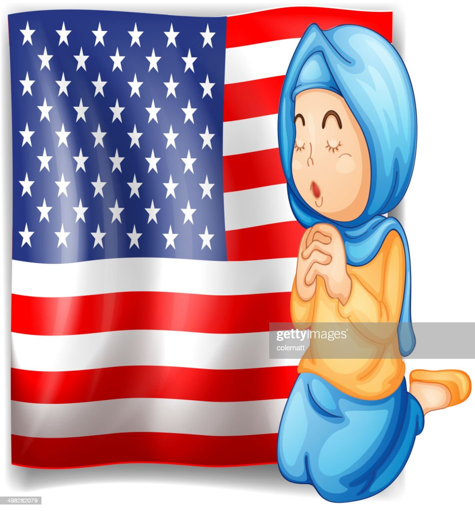 Muslim praying in front of the USA flag