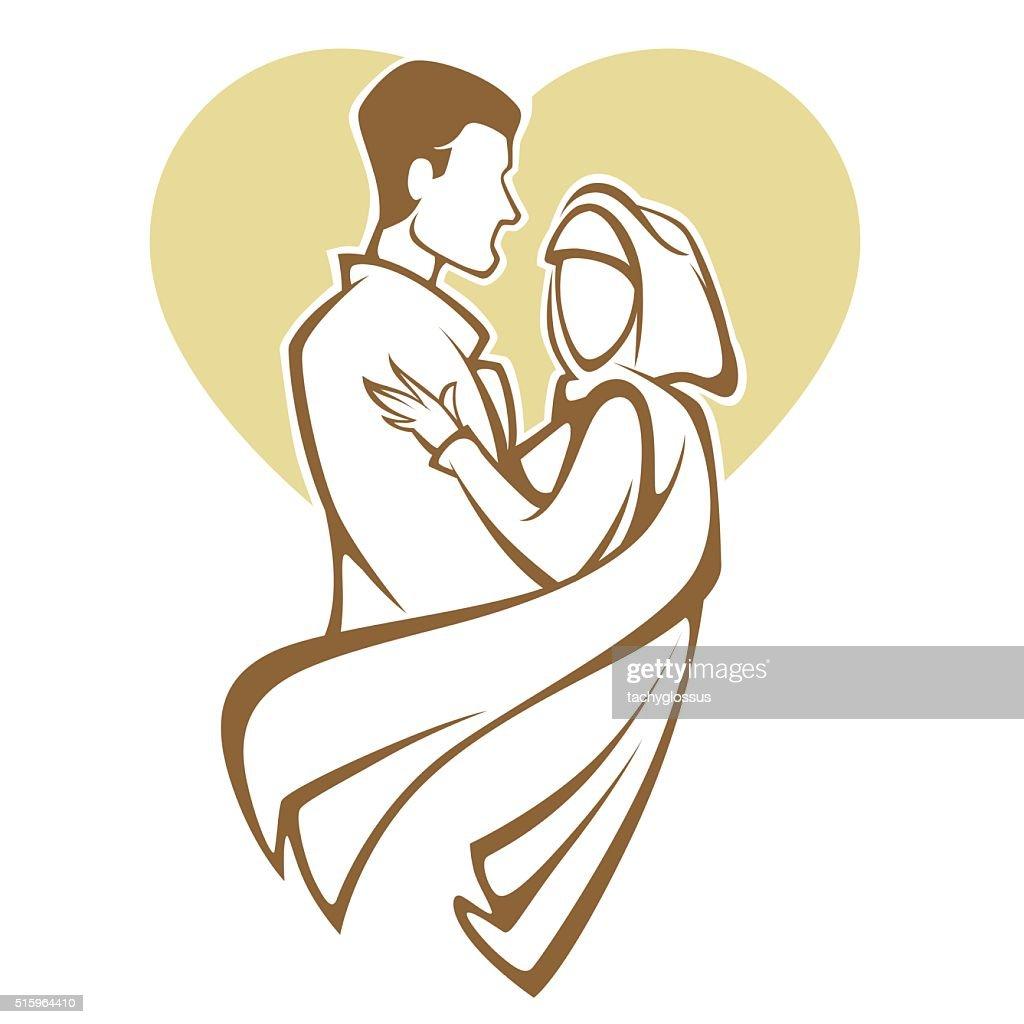 muslim wedding, bride and groom, romantic couple in elegant style