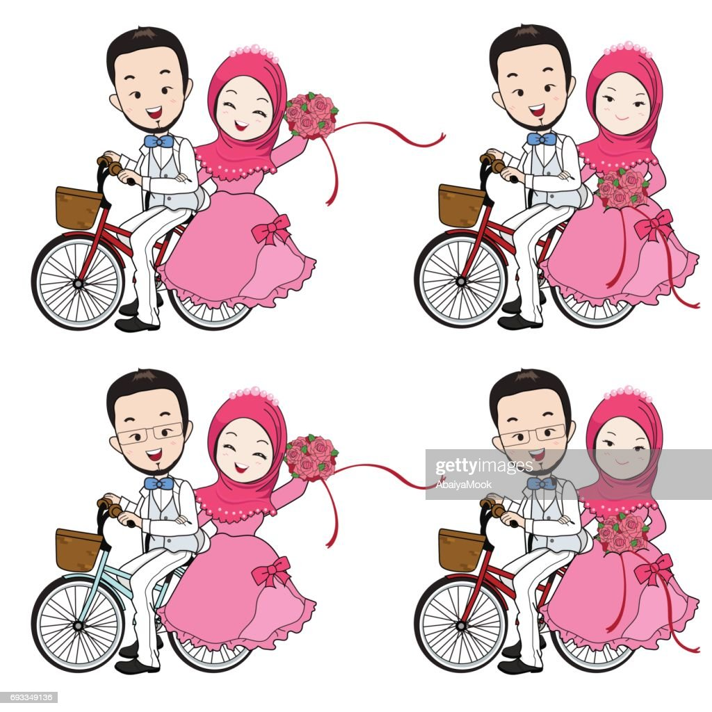 Muslim wedding cartoon, bride and groom riding bicycle with flower bouquet.