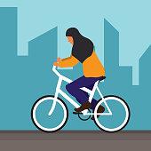 Muslim woman cyclists wearing a hijab cartoon character. vector illustration