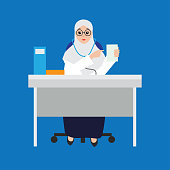 Muslim woman doctor wearing hijab cartoon character. vector illustration