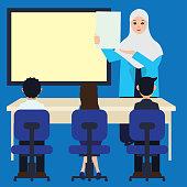 Muslim woman teacher wearing hijab at the classroom cartoon character. vector illustration